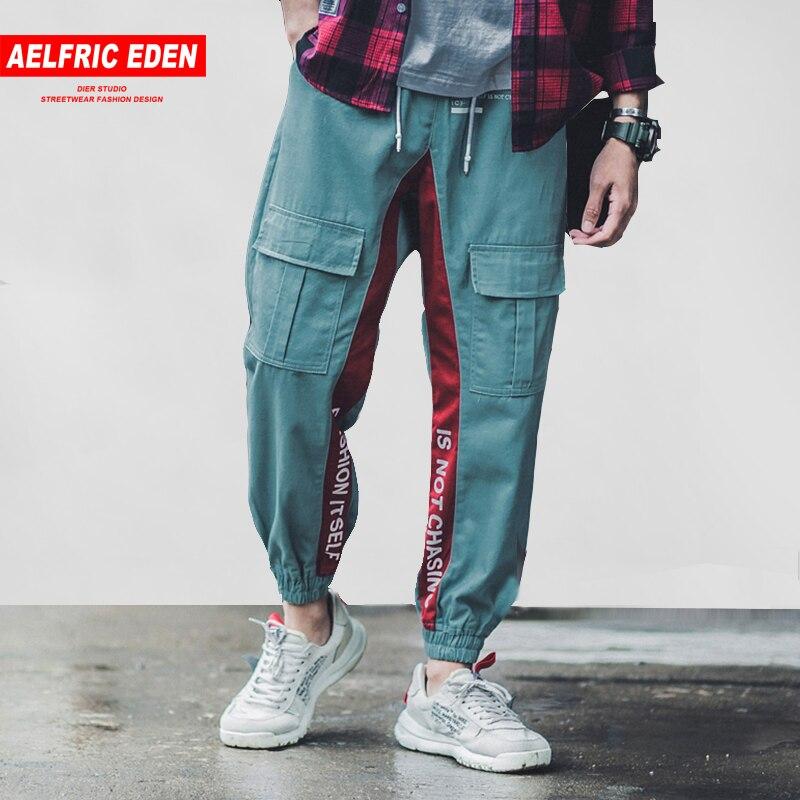 Aelfric Eden lado rayas carta impresión hombres camisetas de 2018 nuevo diseño pantalón masculino de carga de Streetwear Hip Hop pantalones B035