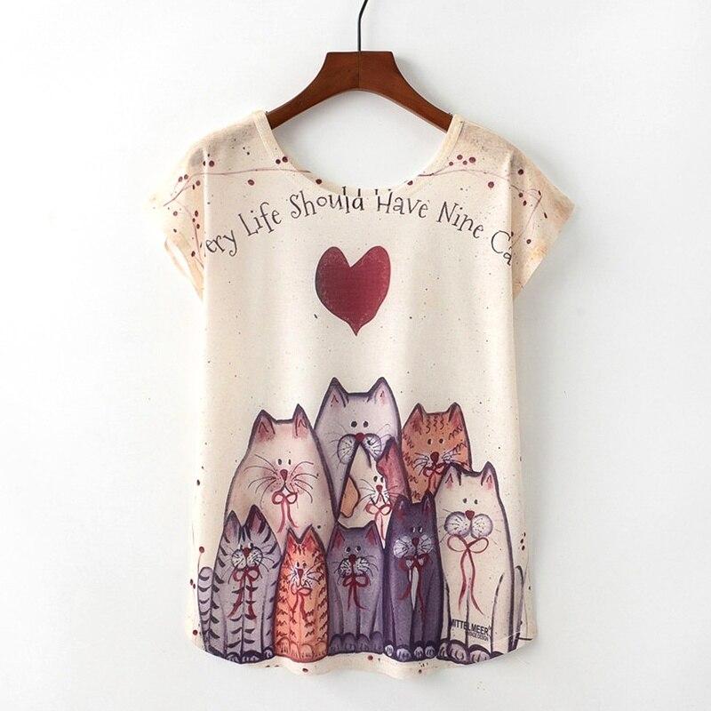 KaiTingu Sommer Neuheit Frauen T Shirt Harajuku Kawaii Nette Stil Schöne Katze Drucken T-shirt Neue Kurzarm Tops Größe M L XL