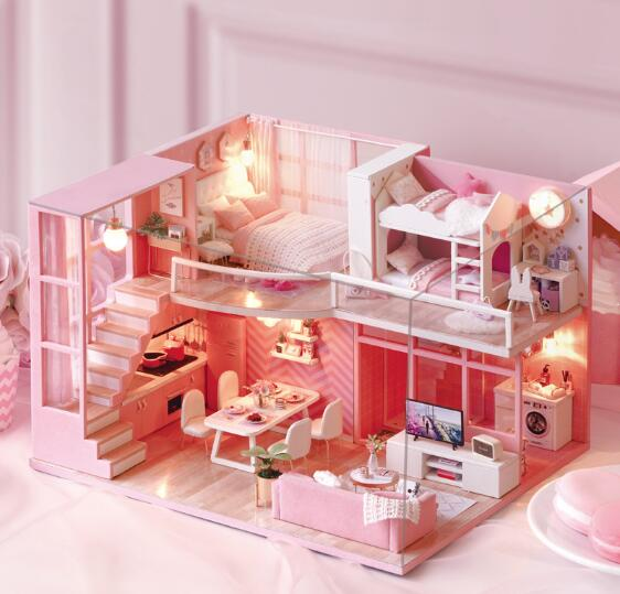 DIY Doll House Wooden doll Houses Miniature dollhouse Furniture Kit Toys for children Christmas Gift DREAM ANGEL L026