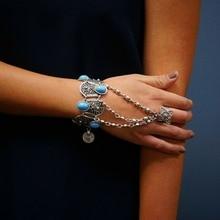 Vintage chaîne doigt Bracelet Pulseras bohème gitane plage breloque turc pièce pendentif main chaîne esclave Bracelet Bracelet