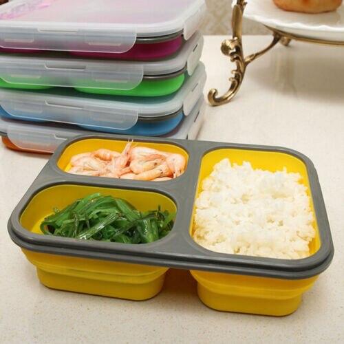 Estuche para horno microondas de 1100ml de capacidad, fiambrera de silicona, Bol Bento, caja plegable para guardar comida, fiambrera
