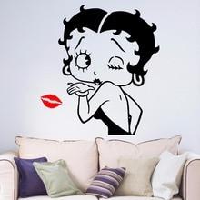 Betty Boop Sexy lèvres de filles   Autocollant mural en vinyle amovible pour Art salon chambre couloir, autocollant Portrait fenêtre de maison B066