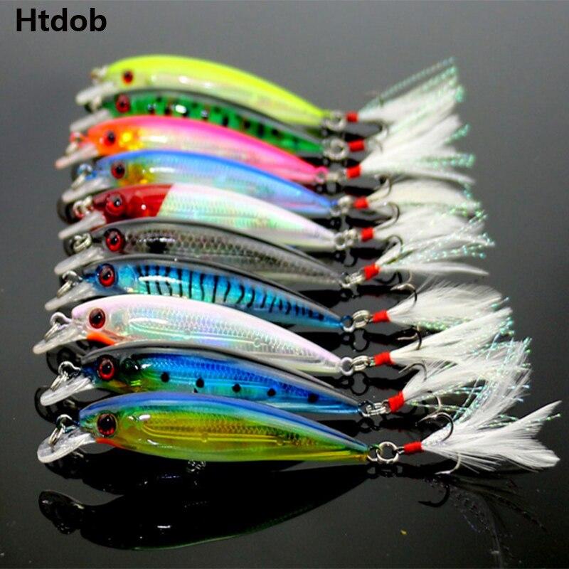 Htdob 10 Uds señuelo de pesca Minnow Wobblers cebo duro gancho de pluma aparejos de pesca 8G 9cm Isca cebo Artificial Crankbait Swimbait