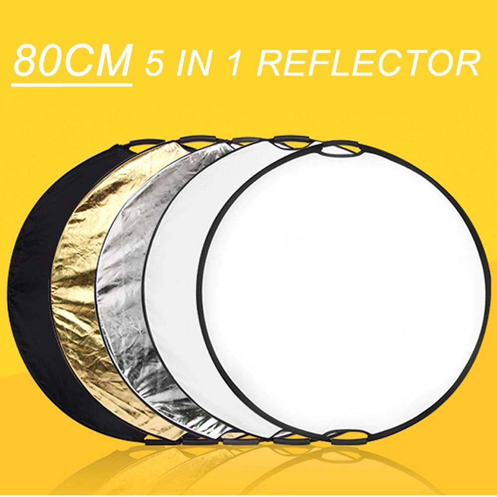 Reflector de disco de reflexión de iluminación plegable portátil de 80cm 5 en 1 con bolsa de transporte para estudio fotográfico