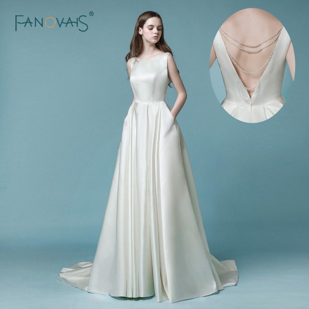 Vestidos de Novia simples 2019 Vestido de Novia con cuentas en la espalda con bolsillo marfil satinado Vestido de Novia Largo NW5