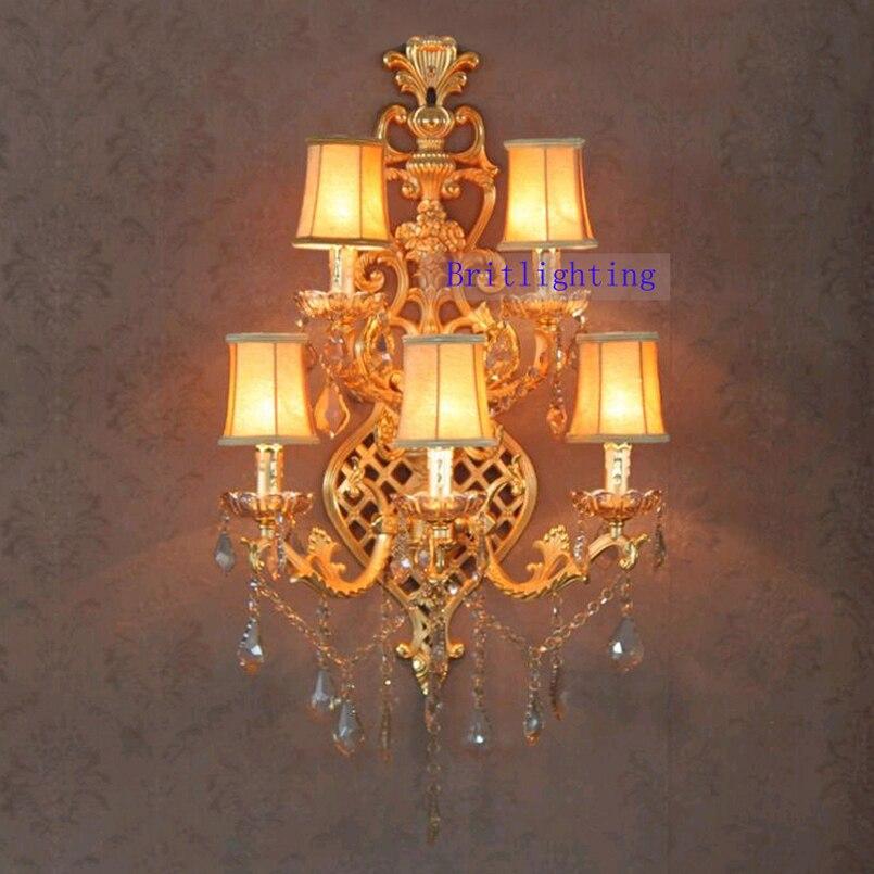 Lâmpadas de Parede do hotel de Ouro Luxuoso Cristal Vela Lâmpada de Parede de Cristal Luzes de Parede para Casa Grande Parede Sonces com Abajur de Tecido Luzes De Parede Sala De Estar Luz de parede para quarto