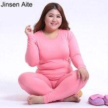 Jinsen Aite Plus Size 6XL Women Thermal Underwear Winter Underwear Sets Elasticity Slim Warm High Quality Female Long Johns JS70
