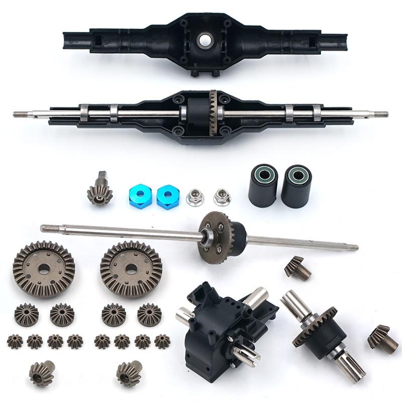 O mais novo! Upgrades de metal wltoys 12428 12423 12628 rc carro peça de reposição atualizar metal dianteiro traseiro diferencial conjunto de engrenagem 12428-0091/0133