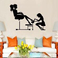 Salão de beleza adesivos de parede vinyls arte decoração da parede para salão de beleza decoração removível decalque murais papel de parede