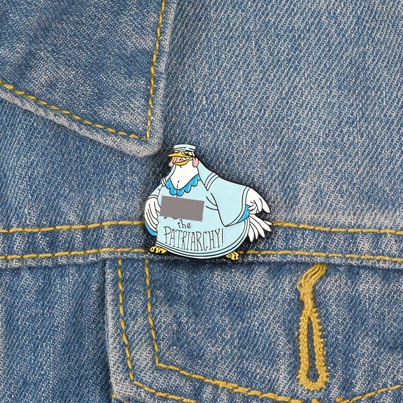Insignia de dibujos animados contra el Patriarcado Gallo esmalte Pin Animal broches para mujer ropa de mezclilla bolsa solapa alfileres insignia joyería regalos
