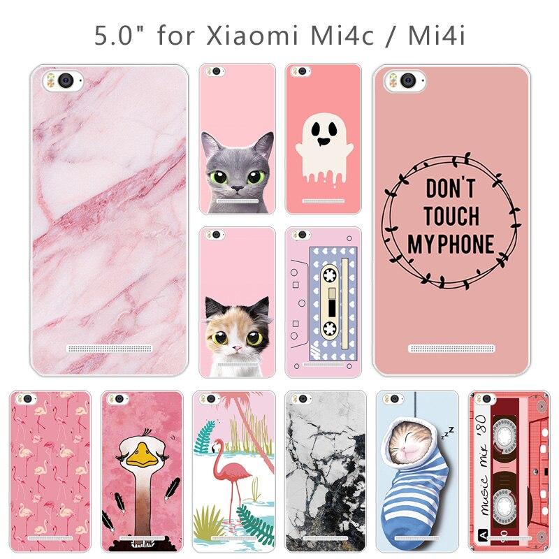 5,0 pulgadas para Xiaomi mi 4c contraportada para Xiaomi mi 4i claro TPU Rosa funda de teléfono para Xiaomi mi 4C carcasa de silicona suave Xio mi 4i