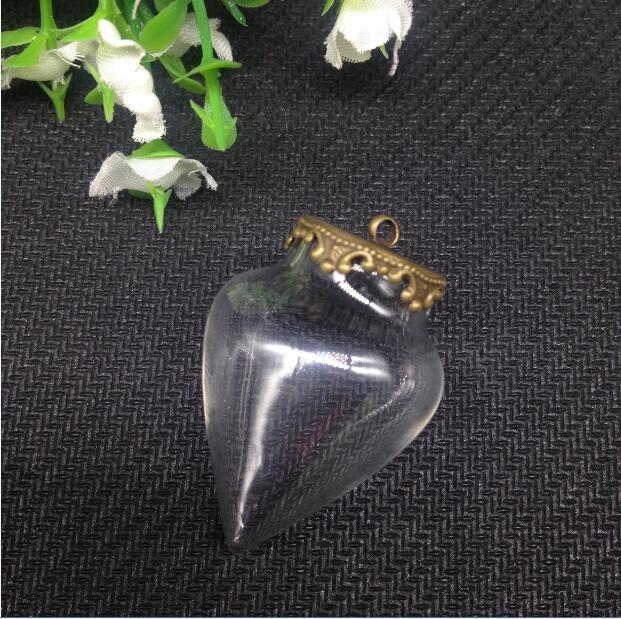 100 sets 38x25mm tear drop glaskugel orb klar wishing flasche anhänger mit flachen crown tablett, schmuck halskette handgefertigte kunst geschenke