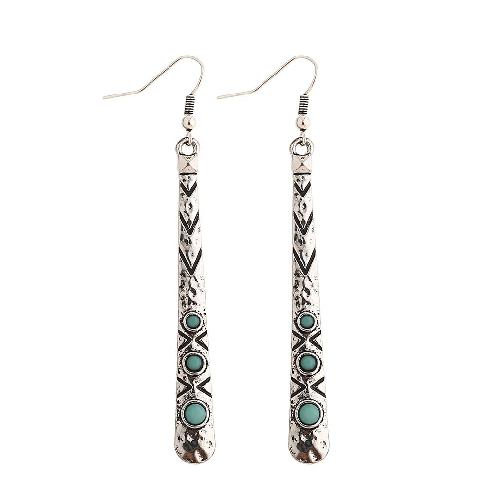 Aros colgantes bohemia de Metal de columna artística Vintage, colgante de aleación, pendientes de gota de anzuelo para mujer, joyería de moda, Pendietes