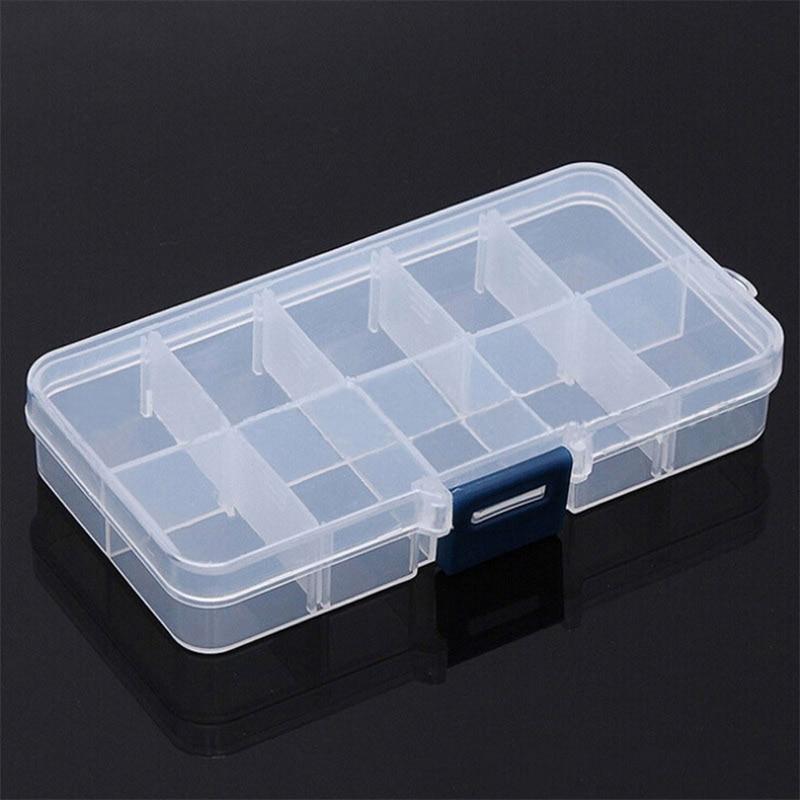 Boîte de rangement en plastique à 10 compartiments   Boîtier Transparent de rangement pour perles de bijouterie boîte de rangement pour bijoux pilules