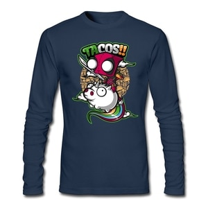 Popular Men Tacos and unicorns T-Shirt Geek Maker Shirt Chibi and Funky t shirt Crew neck  Long sleeved clothes For Adult