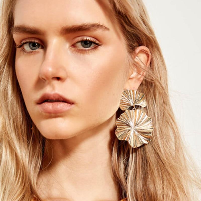 JUJIA Bohemia Vintage za Gold Metal Leaf Drop Dangle Earrings For Women Statement Earrings Accessories Party Gifts