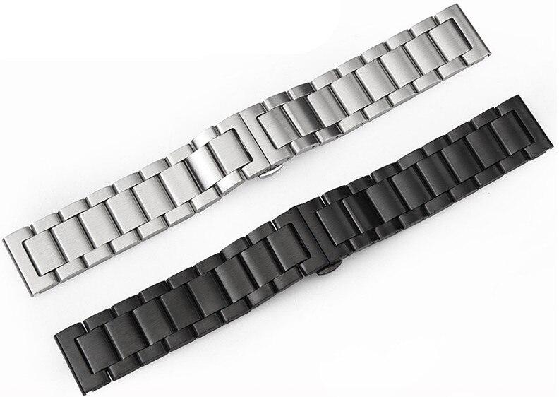 Ремешок для часов из нержавеющей стали 304, 1 шт., 18 мм, 20 мм, 21 мм, 22 мм, 23 мм, 24 мм, черный и серебристый цвета-0324
