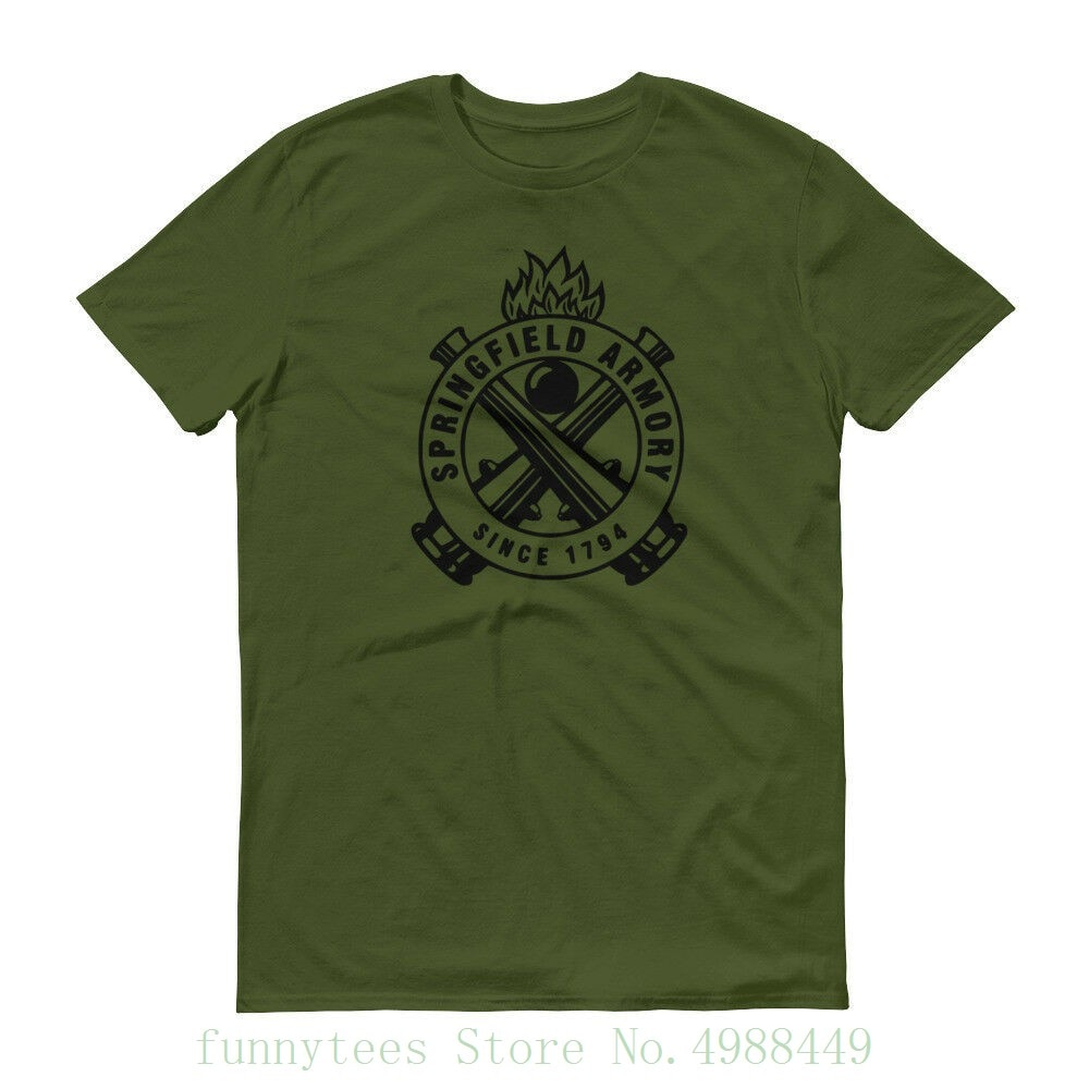 Springfield Armory Black Logo T Shirt 2nd Amendment Pro Gun Rights Tee Rifle New Summer Loose Cotton