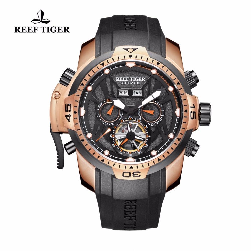 Relojes Reef Tiger para hombre, relojes deportivos de lujo de la mejor marca Tourbillon, relojes automáticos con calendario perpetuo a prueba de agua RGA3532