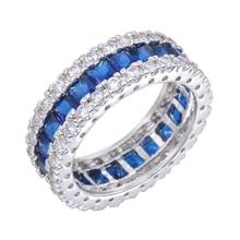 Size 6/7/8/9/10 Princess Cut Blue Stone Wedding Band Jewelry 10KT White Gold Filled White CZ Women Engagement Rings RW0411