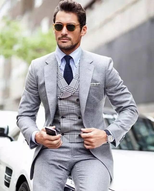 New Arrival Two Buttons Groomsmen Notch Lapel Groom Tuxedos Men Suits Wedding/Prom Best Man Blazer ( Jacket+Pants+Vest+Tie)A117