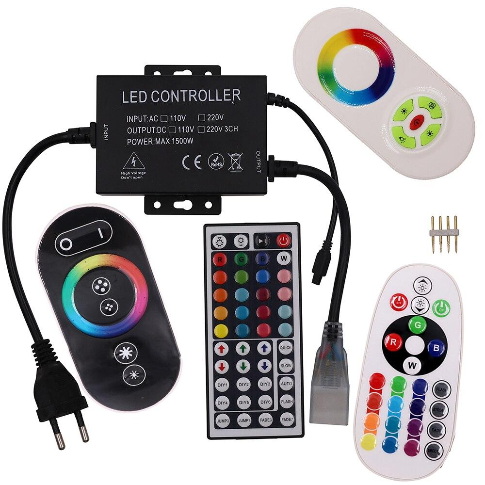1500W 110V 220V RGB Led Strip Light Controller Full Touch/44key/23key/24key IR/RF Remote Control Dimmer Power US/EU Plug