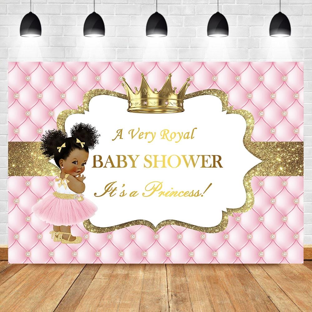 Королевский принцесса детский душ фон для фотосъемки Золотая Корона бриллиант розовый фон для фотосъемки вечерние баннеры конфетные украш...
