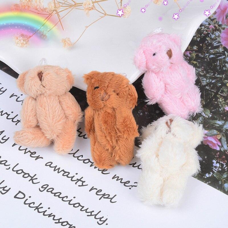 Mini 4.5 cm Joint Bear Plush Stuffed Wedding Box Toy Doll Garment & Hair Accessories Decor Doll 4 colors