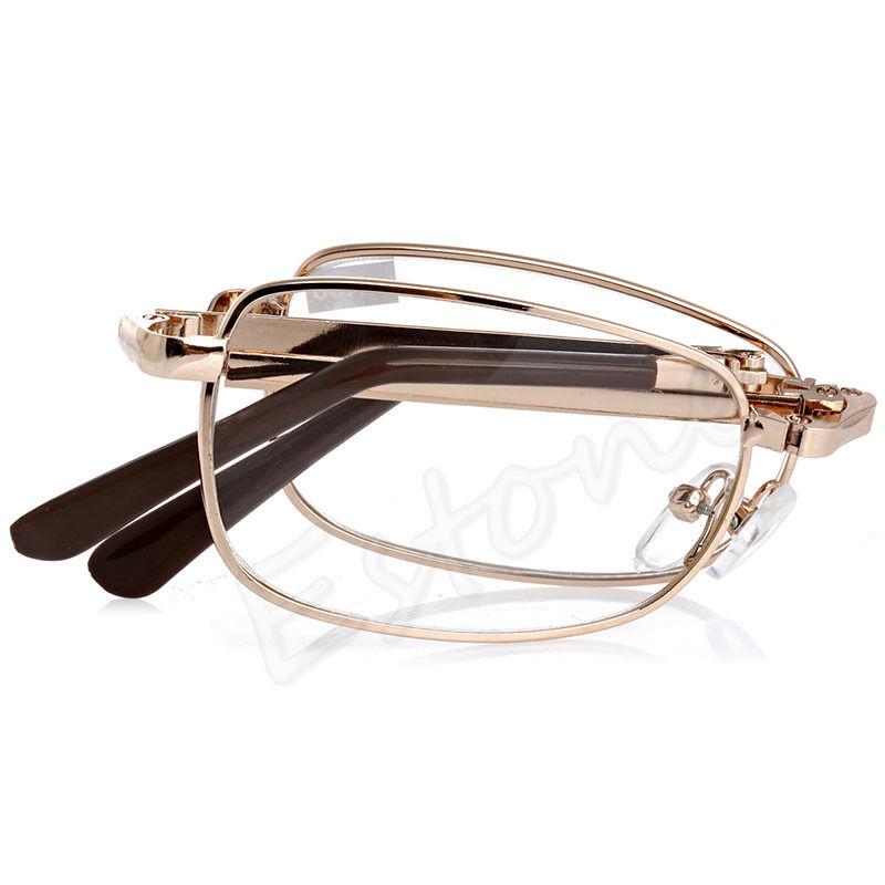 New Unisex women men 1PC Folding Metal Reading Glasses +1.00 1.50 2.00 2.50 3.00 3.50 4.00 Diopter + Case Drop ship