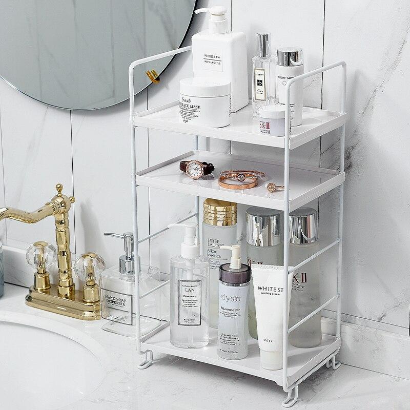 Estante para almacenaje de cocina de hierro, estante, soporte, organizador, estante de escritorio, artículos diversos, estante de almacenamiento, estantes de esquina de baño, maquillaje St
