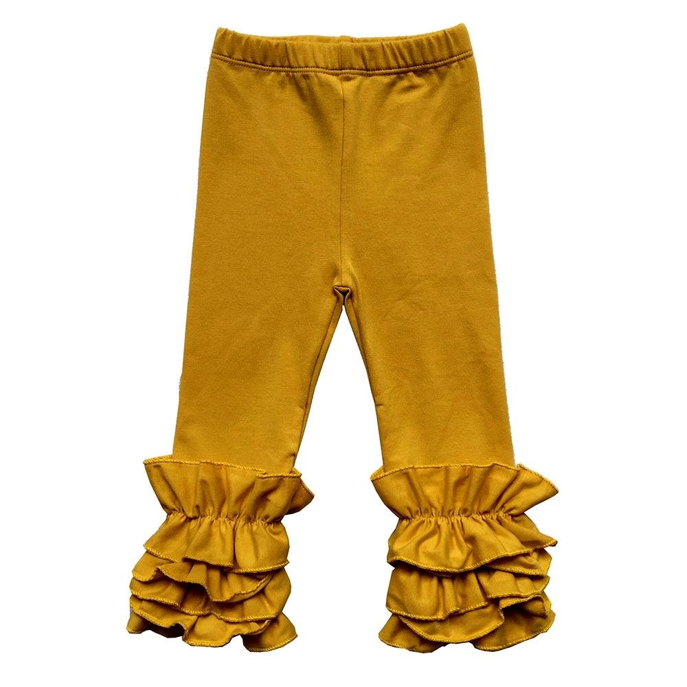 Nuevo Bebé Leggings con volantes para chica mostaza Oliva Teal melocotón oscuro ciruela polvo Rosa Triple Pantalones Niño niños recién nacidos glaseado leggings