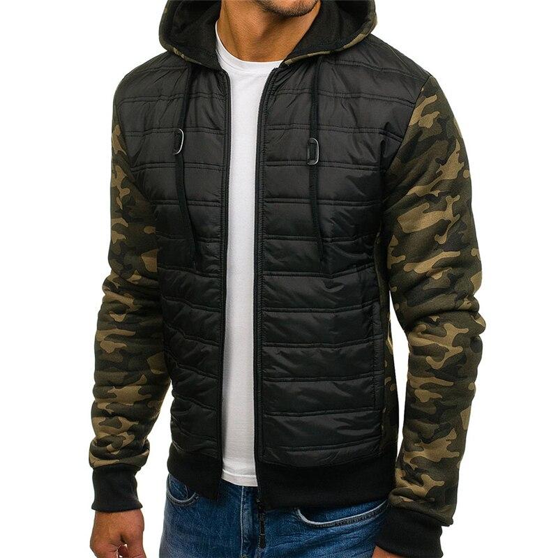 Abrigo de algodón con capucha ZOGAA de talla grande informal de invierno para hombre, chaqueta fina con cremallera, ropa ajustada para hombre, abrigos 2018, Parka de hombre, prendas de vestir de camuflaje