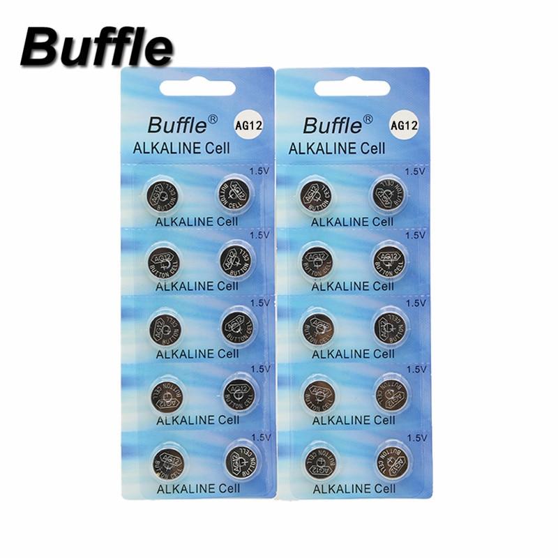 10pcs alkaline battery ag12 1 5v lr43 386 button coin cell watch toys batteries control remote sr43 186 sr1142 lr1142 50pcs/5packs Buffle AG12 1.5V 100mAh Alkaline Battery LR43 AG12 SR43 260 386 lithiun Button Cell Batteries