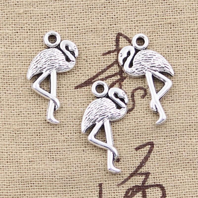 8 Uds encantos una pierna de pie de la grúa flamenco 24x10mm antiguo hacer colgantes fit,Vintage tibetano color plata, DIY joyería hecha a mano