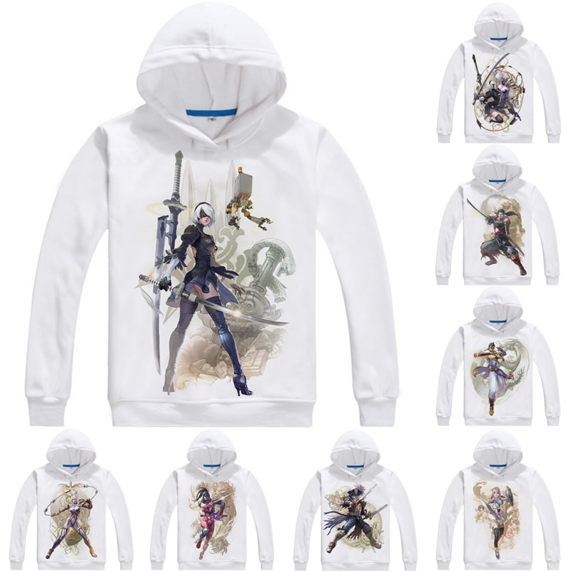 Nier automata 2b yorha nenhum 2 tipo b hoodies dos homens soulcalibur vi alma calibur 6 moletom streetwear anime com capuz longo