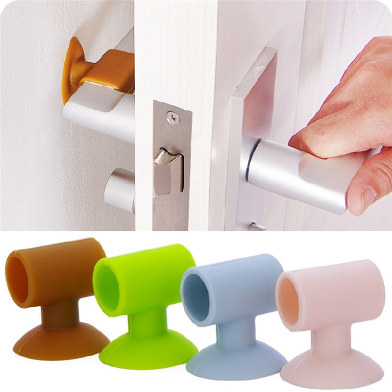 1Pc Suction Cup Door Handle Crash Pad Door Handle Anti-collision Pad Lock Protective Pad Protection Home Wall Sticker