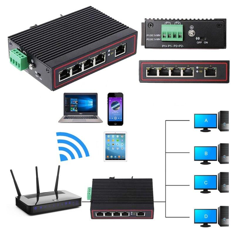 Quality 5-Port RJ45 10/100M Ethernet Desktop Switch Hubs Network Laptop DIN Rail Type Ethernet Switch