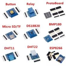 1 ESP8266 D1 Mini Pro WiFi Placa de desarrollo NodeMcu WS2812 RGB DHT11 DHT22 AM2302 de DS18B20 BMP180 Motor para WeMos Kit de bricolaje