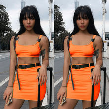 New Women Dress Sexy Club Bodycon Slim Bandage Two Piece Crop Tops Pure Sleeveless Skirt Dress Set Lady Strap Mini Dress