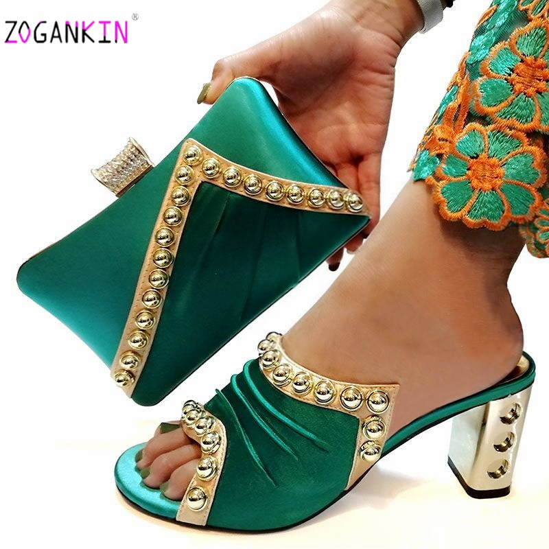 حذاء نسائي نيجيري مع حقائب متناسقة ، طقم من الأحذية والحقائب الأفريقية ، شبشب عالي وحقيبة يد بلون مسيل للدموع