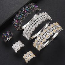 SisCathy 2019 caliente encantos 2 piezas Dubai conjuntos de joyas de Zirconia cúbica brazalete de brazalete abierto/anillo para las mujeres de la marca boda de Nigeria conjuntos de joyas
