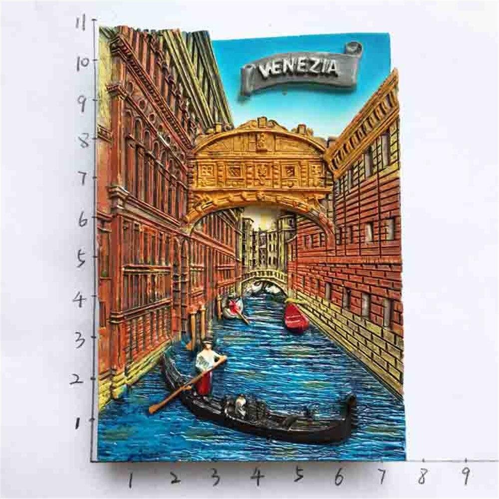 New Hot Europe Italy Venice Travel Souvenirs Fridge Magnets Resin Handmade 3D Venizia Gondola Magnetic Refrigerator Sticker