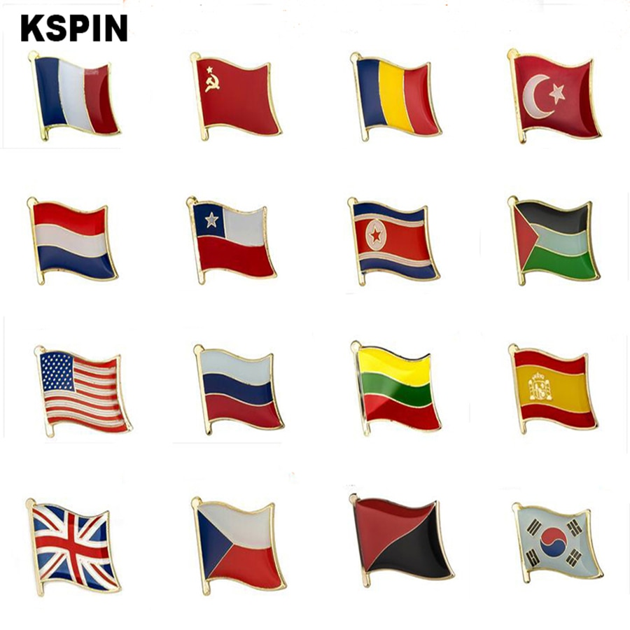 Metal Country Flag Pin Badge Set Rozet Chapas Metalicas Pins Icon Backpack Brooch for Women/Men