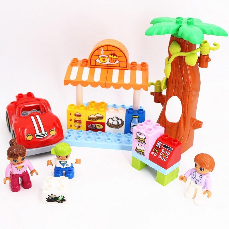 Bloques de construcción DIY, juguetes de mercado de granjero para niños, accesorios compatibles con piezas Duploed, regalos de Navidad para niños
