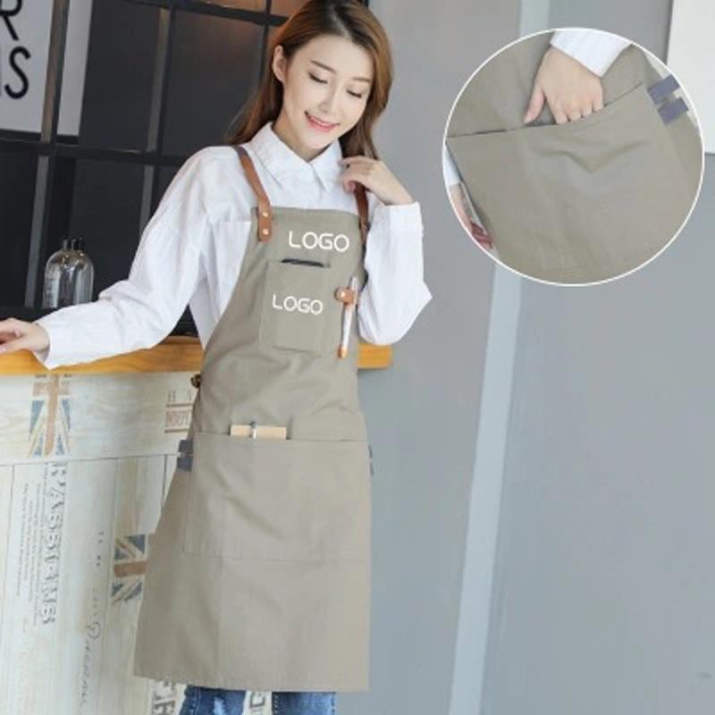 New 2018 BBQ Canvas Apron with Pocket Dress Bib Leather Straps Kitchen apron for Women Men cooking Waitress Cotton Custom Logo