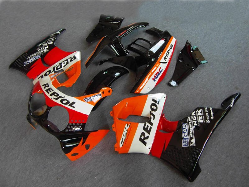 Kit de carenado de motocicleta para HONDA cbr900rr 893 91 92 93 94 95 CBR 900RR 1991 1995 ABS rojo carenados color negros y naranja set + regalos HN01