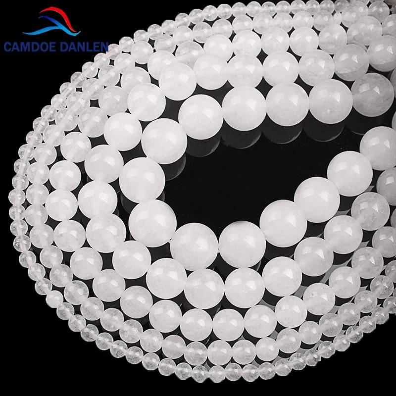 Круглые свободные бусы из халцедона, круглые натуральные белые нефритовые шарики для рукоделия, 4, 6, 8, 10, 12, 14 мм