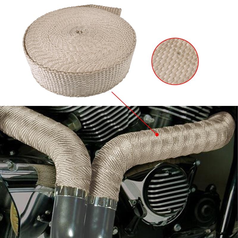 "2"" X 15M/50Ft Exhaust Pipe Header Heat Fiberglass Wrap Resistant Downpipe 6 Stainless Steel Ties Black/White Fit Car Motorcycle"