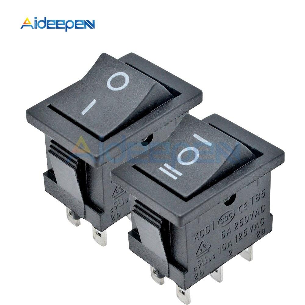 Interruptor de balancín negro KCD1 KCD4 interruptor de encendido ON-OFF 2 posiciones/3 posiciones 2 pines 3 pines 4 pines 6 pines sin luces