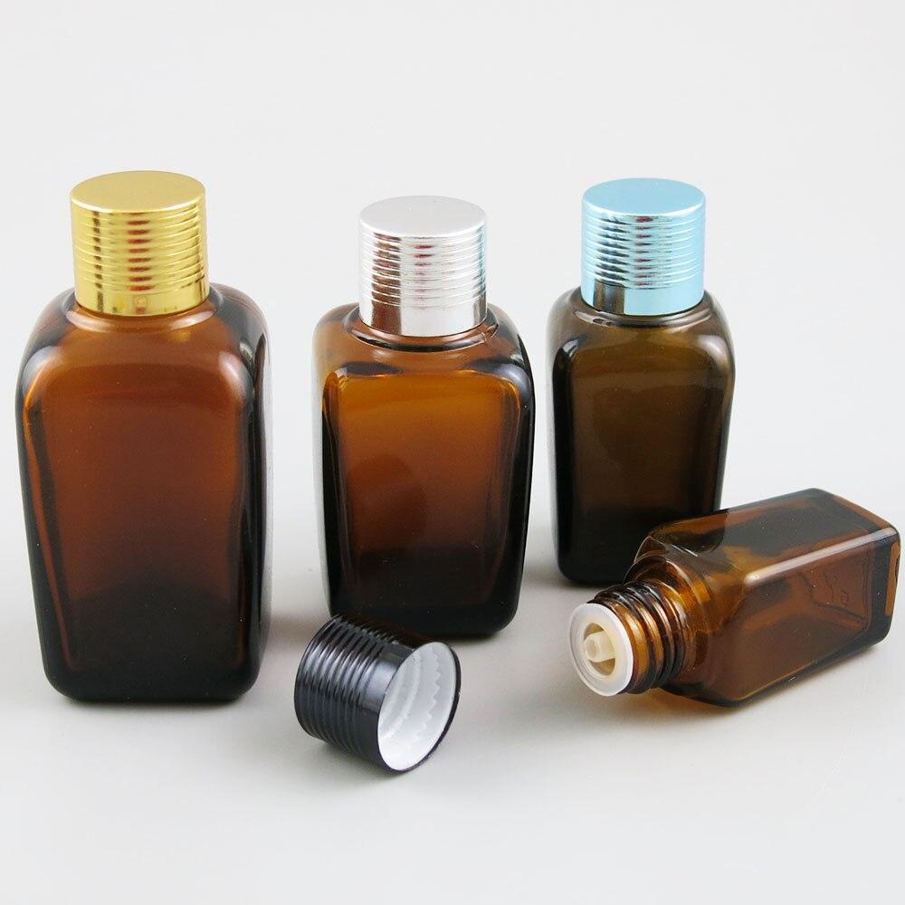 360 قطعة/الوحدة مربع العنبر الزجاج الضروري النفط زجاجة مع غطاء براون التجميل زجاجة ل e السائل 10 مللي 25 مللي 35 مللي 50 مللي 100 مللي زجاجة